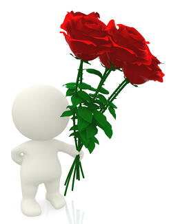 3D man giving red flowers - isolated over a white background